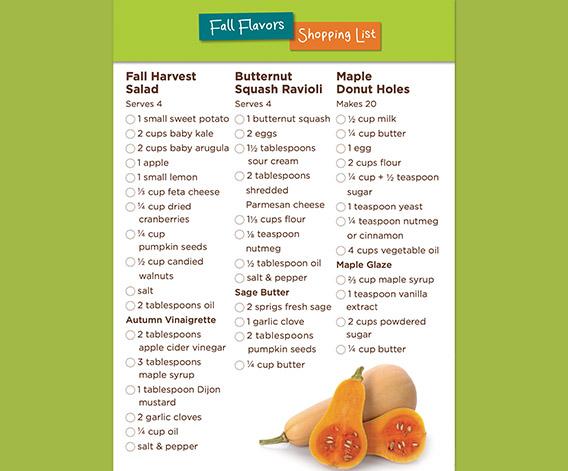 Fall Flavors Shopping List