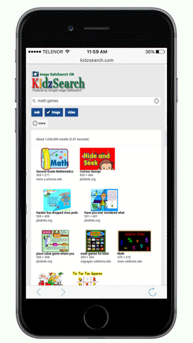 KidzSearch Mobile App Image Search Results