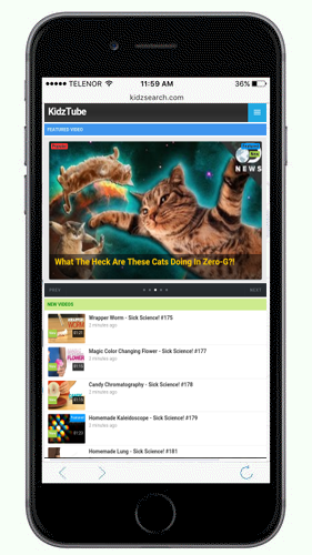 KidzSearch Mobile App KidzTube Handpicked Educational Videos