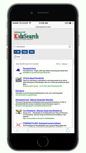 KidzSearch Mobile App Search Results