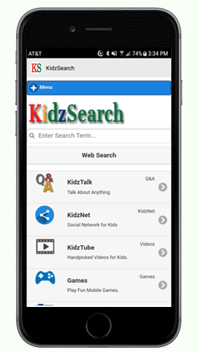 KidzSearch Mobile App Home Page