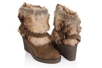 Furry wedge heel boots, $29.80, Forever21.com