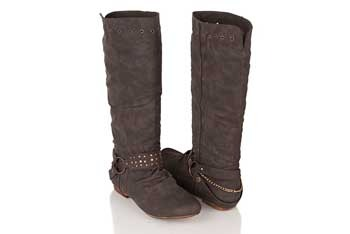 Distressed leatherette boot with chain, $35.80, Forever21.com