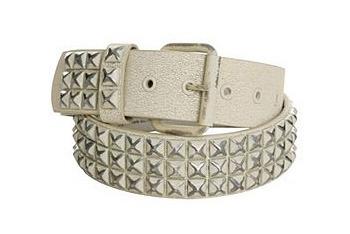 Distressed white leather pyramid stud belt, $24, HotTopic.com