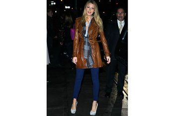 Blake Lively in a 1970s style trench