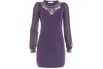 Purple embellished dress, $50, at DorothyPerkins.com