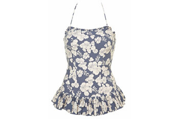 Flower print swimsuit with peplum skirt from Topshop.com, $60