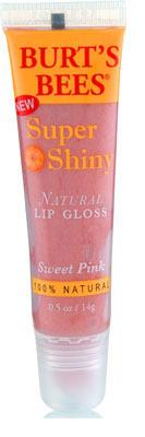 "Burt's Bees Super Shiny Natural lipgloss in ""Sweet Pink"", $6.99"