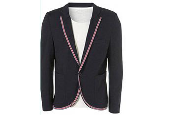 Navy sports trim skinny jacket from www.Topman.com, $110