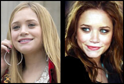 The Olsen twins are a little easier to tell apart now that Mary-Kate is sporting darker tresses.