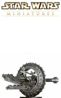 This fig of Grievous's Wheel Bike is a sneak peek from the Star Wars Miniatures Revenge of the Sith expansion set, based on the Star Wars Episode III movie!
