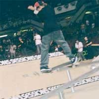 Ryan Sheckler railslides at Slam City Jam.