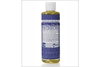 Dr Bronner Peppermint Liquid Soap from health food stores or DrBronner.com, $5.99