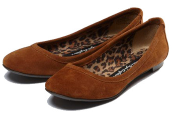 Suede ballet flats in chestnut from AmericanEagle.com, $29.50