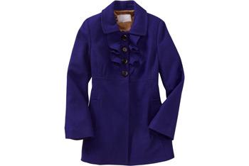 Ruffled wool-blend coats from OldNavy.com, $89.50