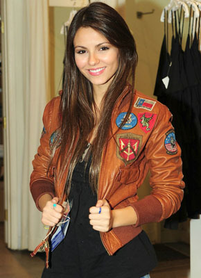 Victoria Justice loves her leather bomber jacket!