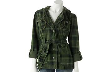 Self Esteem plaid hooded military jacket from Kohls.com, $40
