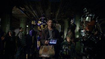 Hugh Jackman with Real Steel Robot