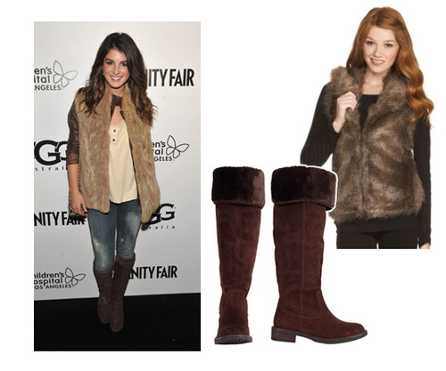 DILLARDS furry vest, $29.99 and DELIAS furry boots, $58
