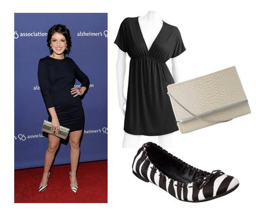 WALMART black dress, $12, NEW LOOK bag,$12 and TARGET ballet flats, $12