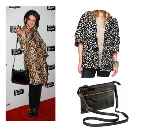 FOREVER 21 leopard jacket, $21.80 and OLD NAVY black bag, $19.50