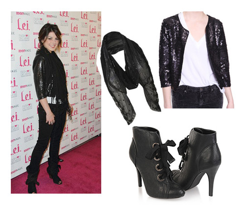 FOREVER 21 sequin jacket, $28.80, NEW LOOK scarf, $5, FOREVER 21 boots, $28.80