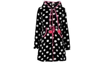 Polka dot hooded fleece robe, $19, at Peacocks.co.uk