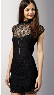 A black cocktail dress in lace