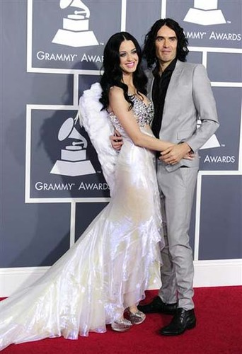 Katy Perry's look took off with the addition of feathered angel wings