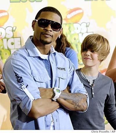 Usher Raymond and Justin Bieber
