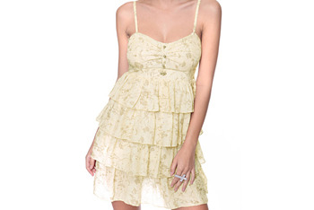 Yellow ruffle dress, $18, at Forever 21