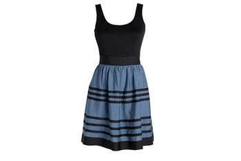 Blue and black stripe dress, $39.50