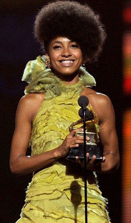 Accepting a Grammy Award earlier this year!