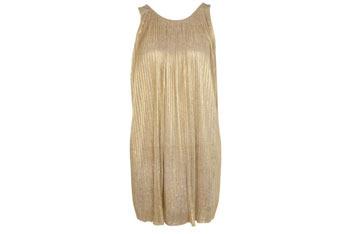 Gold foil pleated dress, $70, at MissSelfridge.com