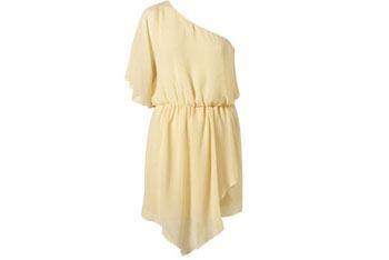Lemon one shoulder chiffon dress, $85, at Topshop.com