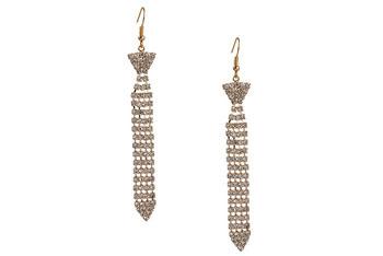Necktie rhinestone earrings, $6.80, at Forever21.com