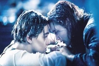 Leonardo DiCaprio with Kate Winslet in Titanic.