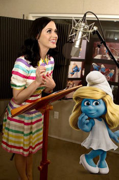 Katy Perry recording Smurfette