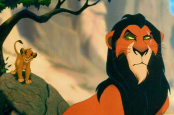Scar plots against his nephew Simba so that he can rule the Lion Pride