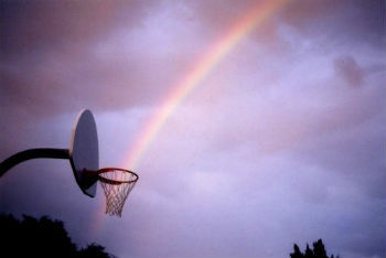 Rainbow basketball shot