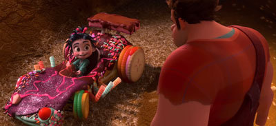 Ralph creates a race car for Vanellope