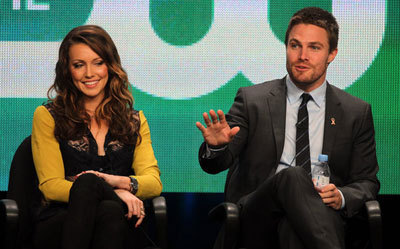 Stephen with Katie Cassidy at the interview