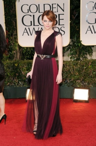 Miss Maroon: Emma Stone looks sweet and understated