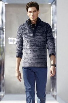 Step out in a sweater over colored jeans for a casual evening out.