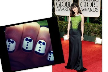 Zooey wore a tuxes on her fingertips to the Golden Globes!