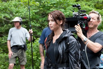Jennifer behind the scenes on The Hunger Games