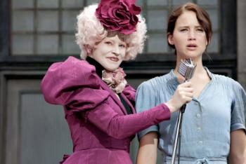 Katniss and Effie Trinket (Elizabeth Banks)