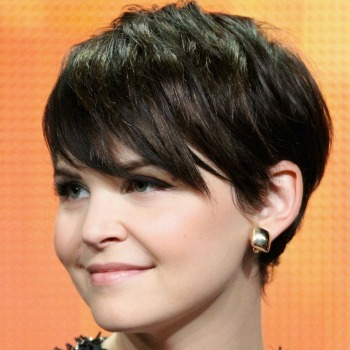 Ginnifer Goodwin sweeps long bangs aside with gel