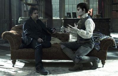 Johnny with director Tim Burton on set