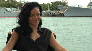 Rihanna being interviewed in Hawaii